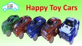 Happy Toy Cars go around the track | Blue Red green car
