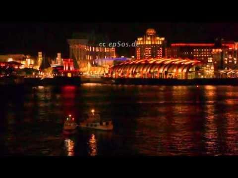 Beautiful City Night Lights of Sentosa Island in Singapore of Asia