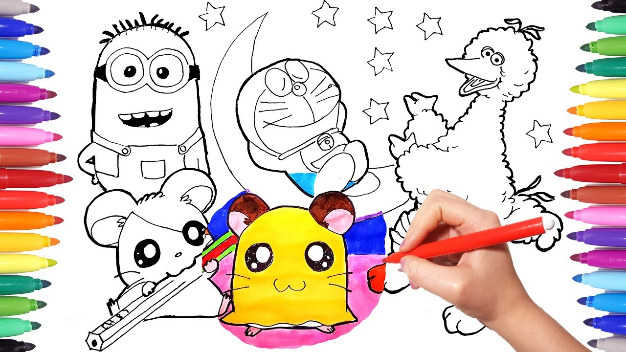 cartoon characters coloring book page 6 hamtaro minions