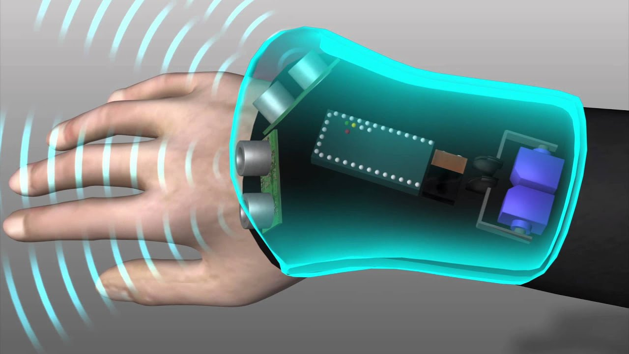 Wrist mounted glove helps blind navigate