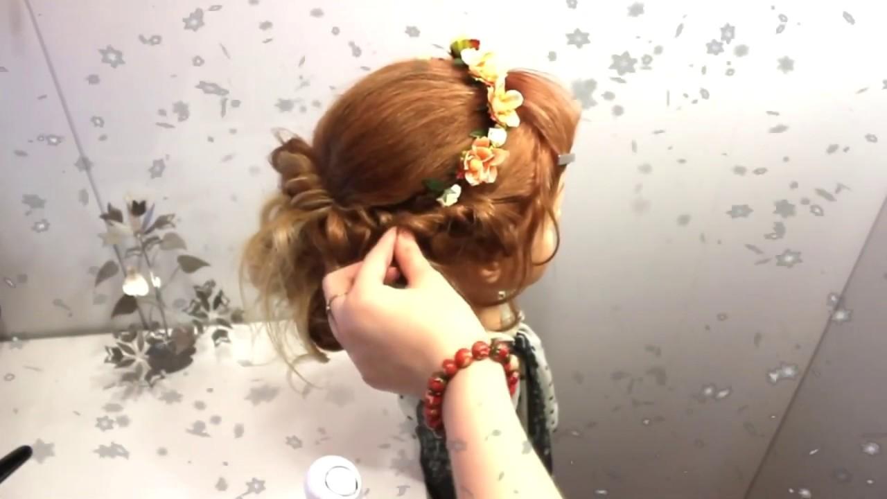 Прическа жгуты из локонов на средние длинные волосы. Вечерние прически на выпускной