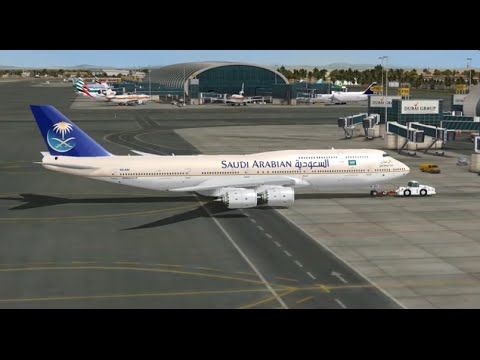 BOEING 747 8i SAUDI ARABIAN AIRLINES TAKE OFF FROM DUBAI INTL  AIRPORT FS9 HD