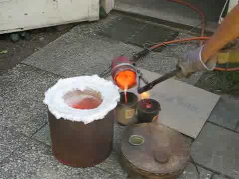 Roaring furnace to melt bronze / brass - YouTube