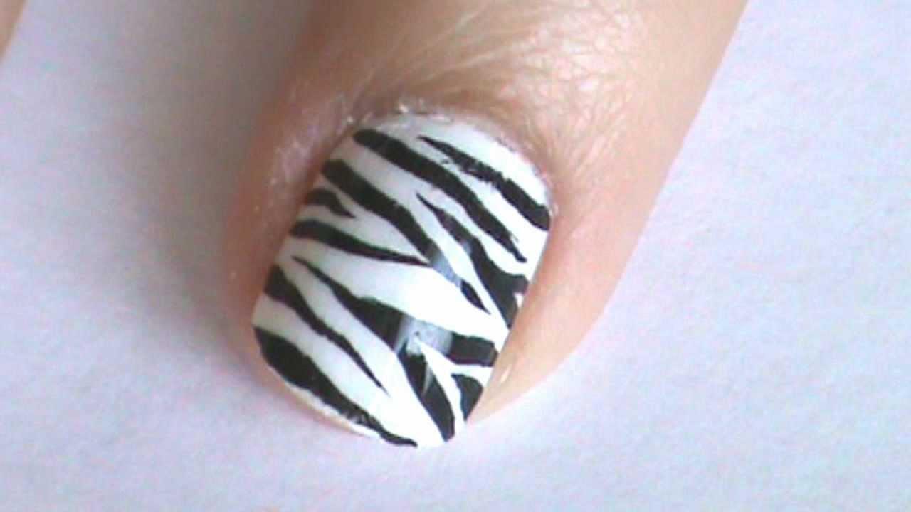 Zebra Nail Art Design - YouTube