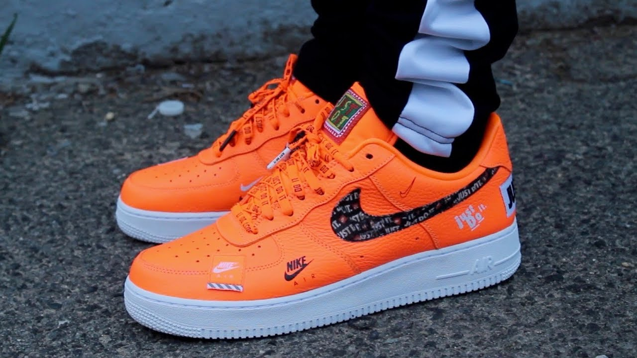 "1f72d81a0fd36 On Feet - Nike Air Force 1 Low Total Orange ""Just Do It"" Collection ..."