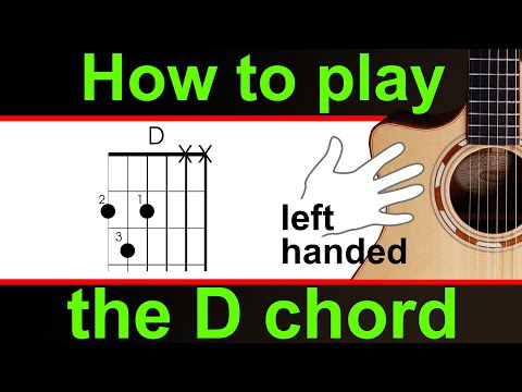 Left Handed, how to play the D major chord on guitar.   play D chord