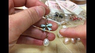蝴蝶結珍珠耳環(9針、T針的應用)