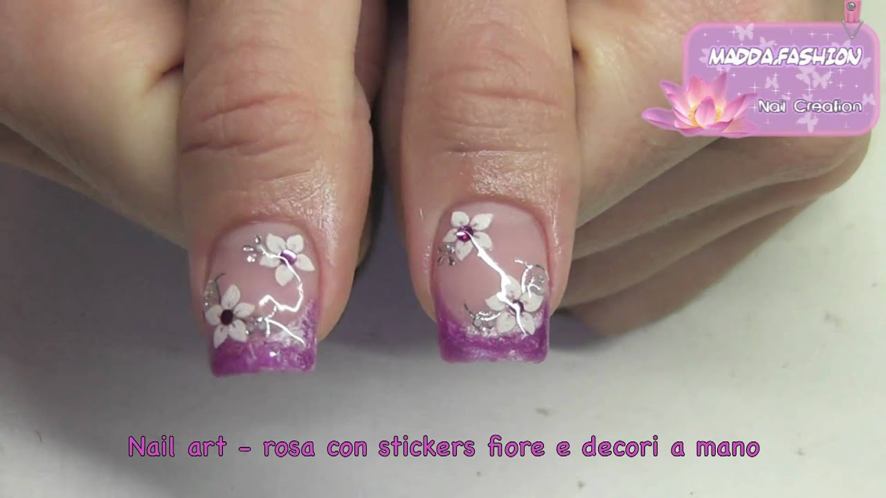 Célèbre Nail Art - french rosa con stickers fiori e decori a mano (smalto  HW61