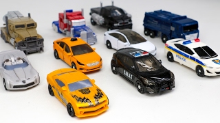 Transformers DOTM Optimus Prime Bumblebee VS Carbot Micro MiniCar Truck Police Vehicle Robot Car To
