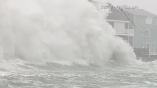 Huge waves and massive storm surge slams Scituate, MA - 2/8/2016