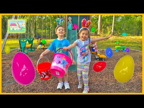 Thumbnail: GIANT SURPRISE EASTER EGG HUNT FOR LARGE SURPRISE Opening Toys SpiderMan Frozen Elsa Kite Funny Kids