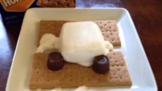 Making Rolo Candy Bar Marshmallow Graham S'more Microwave How To