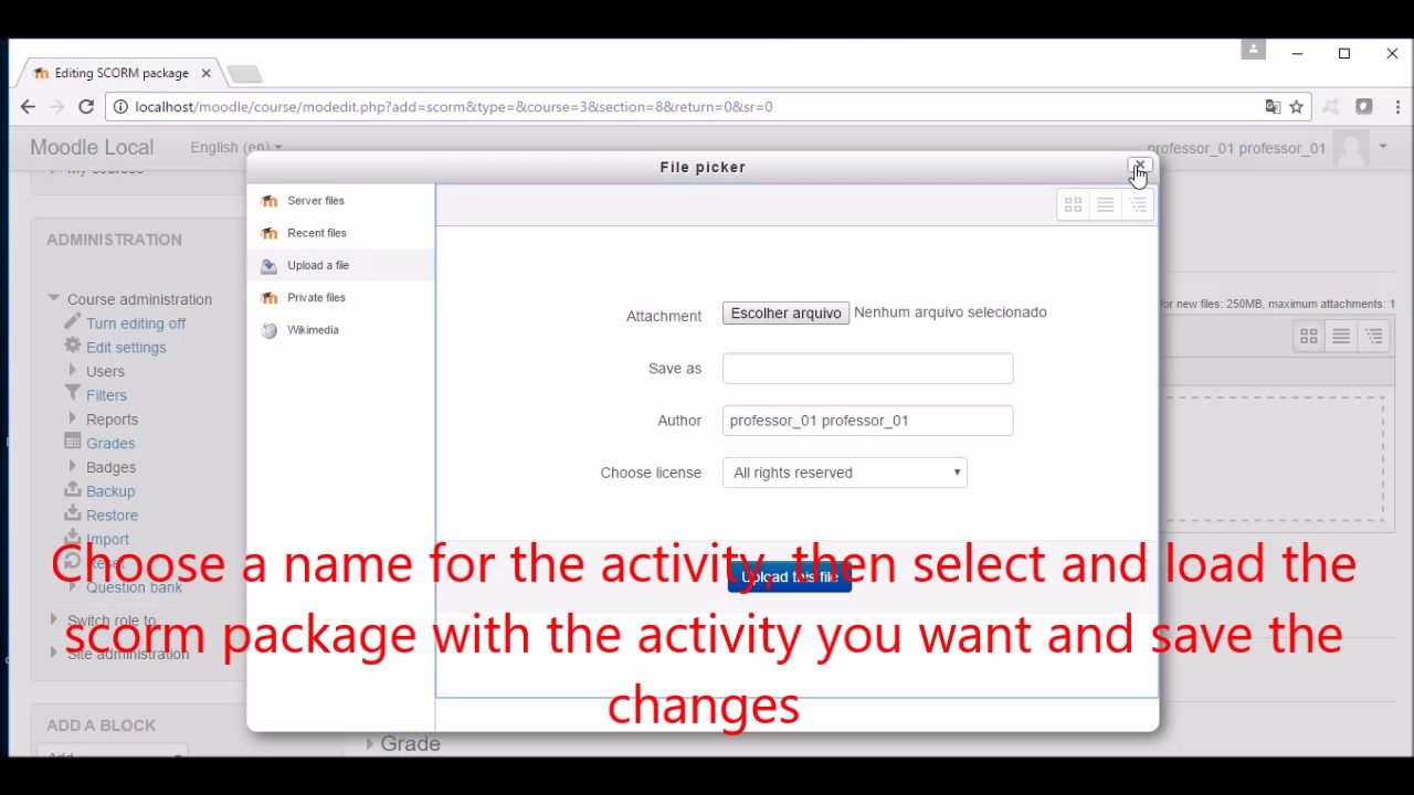 Video 02 Loading Scorm Package in Moodle