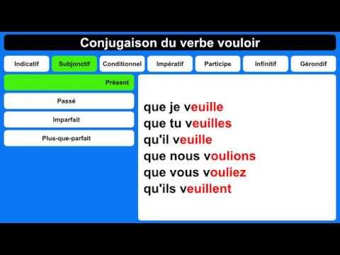 Conjugaison Du Verbe Vouloir Youtube