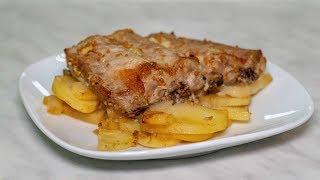 Ребра свиные в маринаде запекаем в духовке с картошкой