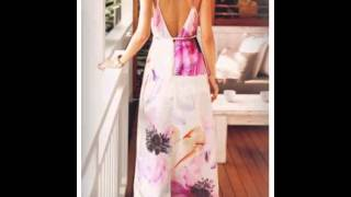 White Spaghetti Strap Backless Split Floral Dress - Sheinsi