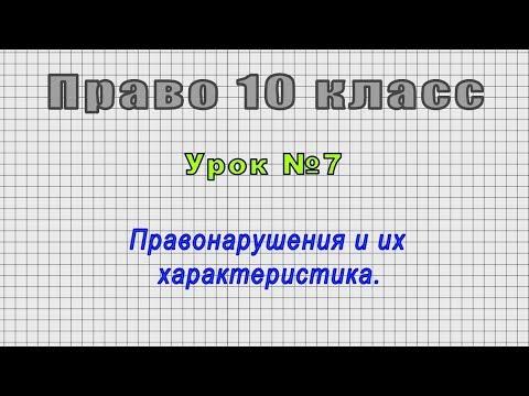 Право 10 класс (Урок№7 - Правонарушения и их характеристика.)