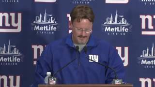 Coach McAdoo speaks with press after game vs Jets...