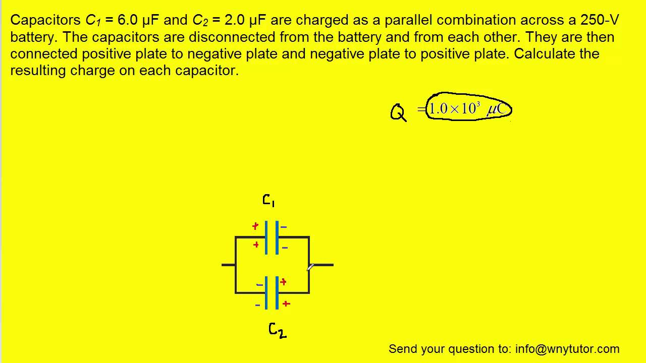 Capacitors C1 And C2 Are Charged As A Parallel Combination Youtube This Series Circuit Shows Four Resistances In Sequence With Battery