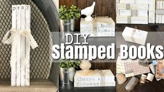 DIY Personalized Stamped Stacked Books/ Farmhouse DIY Home Decor