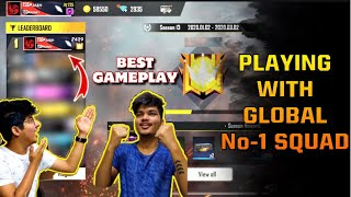 FREE FIRE ||PLAYING WITH GLOBAL NO -1 PLAYER WITHOUT DOUBLE RANK TOKEN || SCORE 5200++ BEST PLAYER