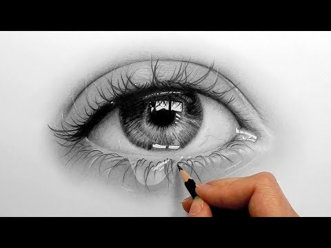Timelapse   Drawing, shading a realistic eye and teardrop with graphite pencils   Emmy Kalia