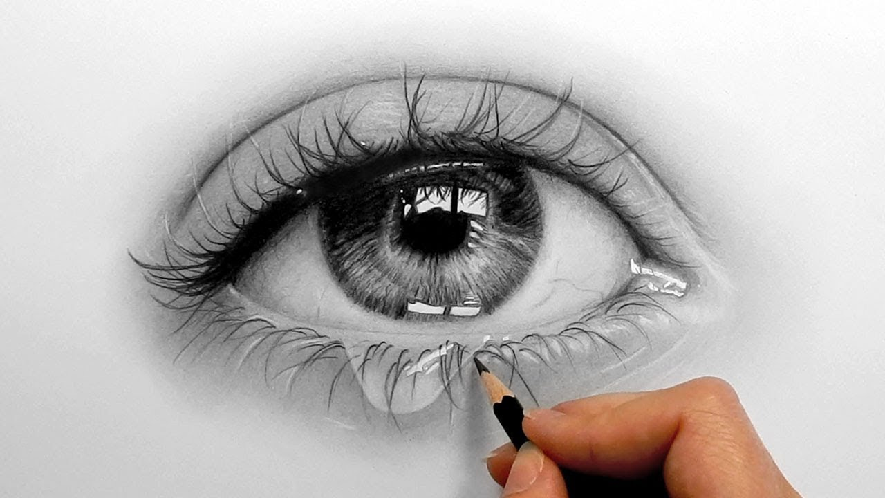 Timelapse drawing shading a realistic eye and teardrop with graphite pencils emmy kalia