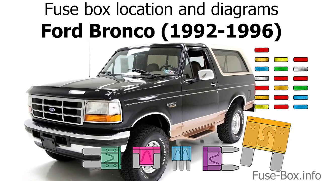 [DIAGRAM_38IS]  Fuse box location and diagrams: Ford Bronco (1992-1996) - YouTube | 1990 Ford Bronco Fuse Box |  | YouTube
