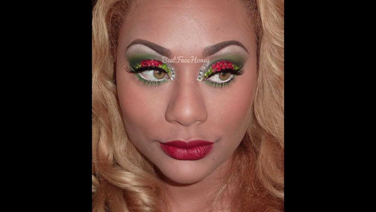 Christmas Rhinestone Eyeshadow Makeup - YouTube