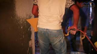New way of plastering, One coat gypsum plaster with plaster sprayer