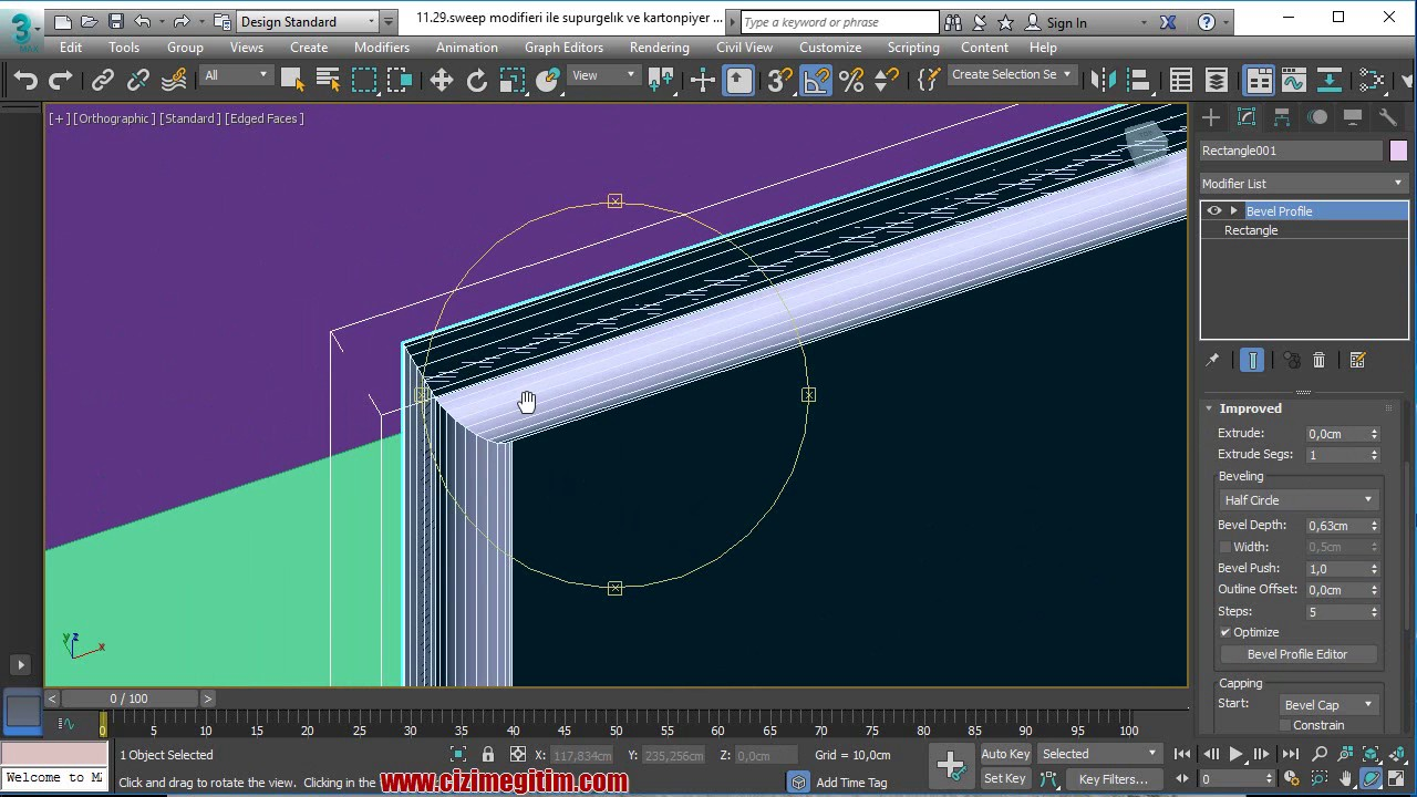 3ds max 2017 bevel profile - YouTube
