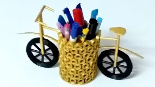 Newspaper craft idea   Newspaper Cycle Pen Stand    waste material craft