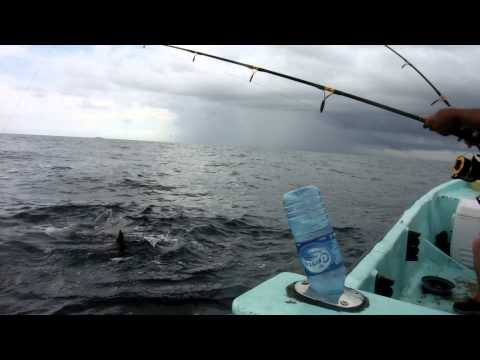 Texas woman catching shark in Belize
