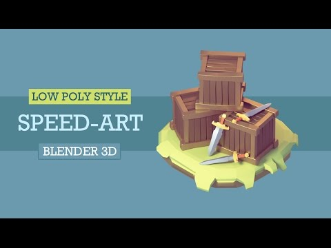 [Speed art] Speed modeling Cartoon wooden box and sword in blender 3d