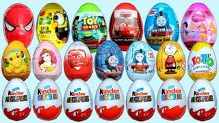 Repeat youtube video 20 Surprise Eggs 7 Kinder Surprise Disney Pixar Cars 2 Thomas Spongebob