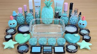 MINT SLIME Mixing makeup and glitter into Clear Slime Satisfying Slime Videos