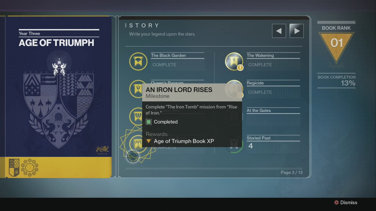 destiny - opening my age of triumph record book - youtube
