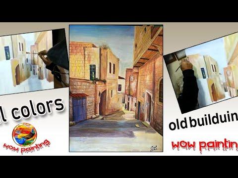 wow art,oil pastel tutorial for beginners step by step ,old building.peinture à l'huile .un éléphant