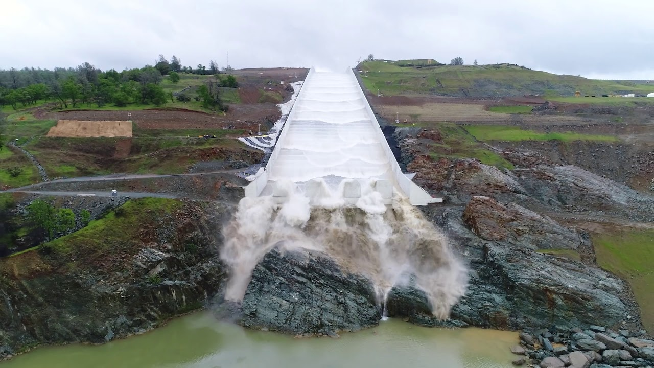 Water Rushes Down Oroville Dam's New Spillway For First Time