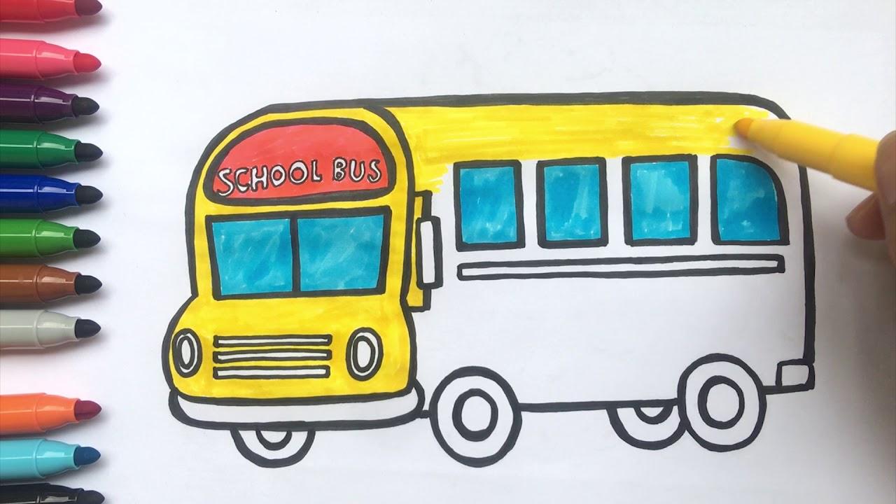 Mewarnai Bus Sekolah School Bus Dan Menggambar Pelajari Warna Untuk Anak Anak Youtube
