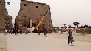 مصر العربية | ترميم تمثال رمسيس الثاني بمعبد الأقصر