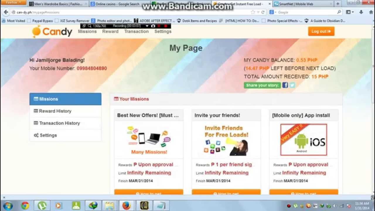 How to Earn Free Load on Smart,Globe and T M using can-dy