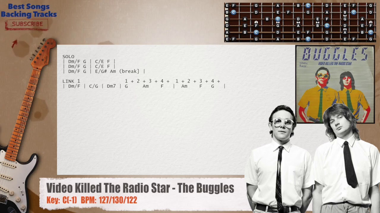 Video Killed The Radio Star The Buggles Guitar Backing Track With