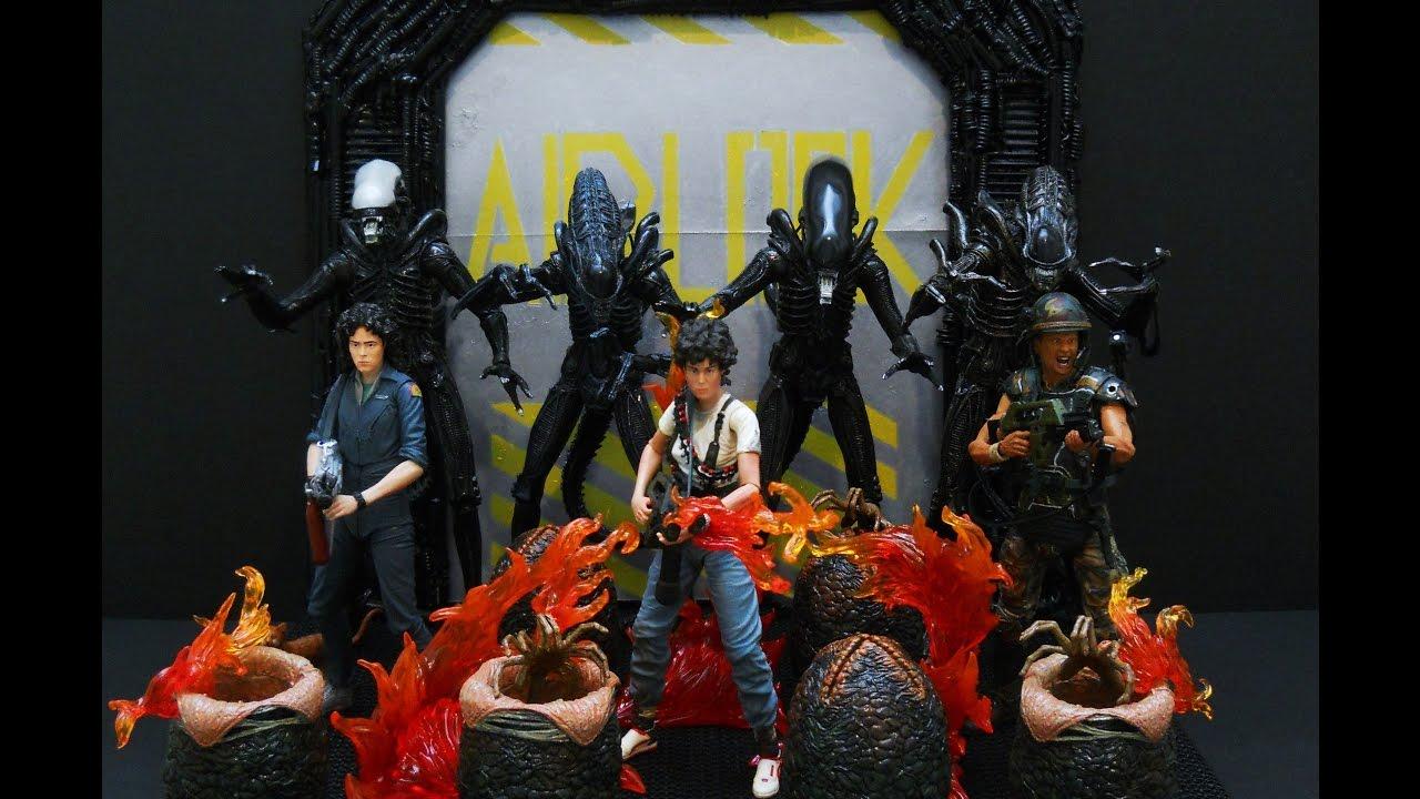 Neca Aliens Figure Collection and Custom Diorama Display