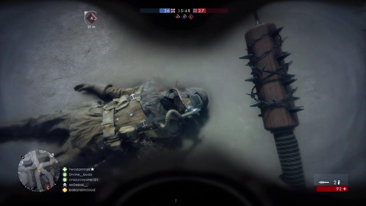 Battlefield 1 barbed-wire bat vs Elite class Flamethrower - YouTube