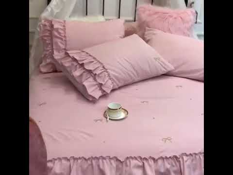 shabby chic cotton ruffle pink soft  french country bedding comforter duvet cover