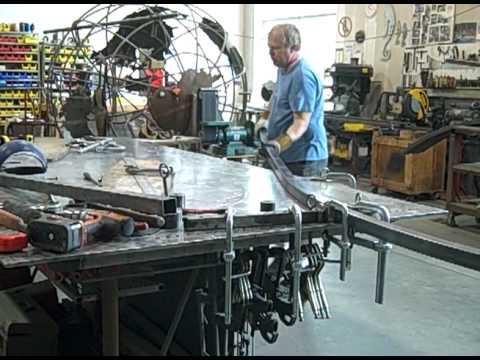 Hand bending 1-3/4 inch 14 gauge square steel tube
