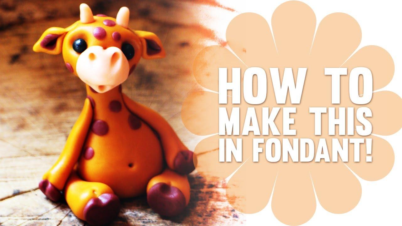 Cake Decorating Animal Figures How To Make A Cute Fondant Giraffe Cake Decorating Tutorial