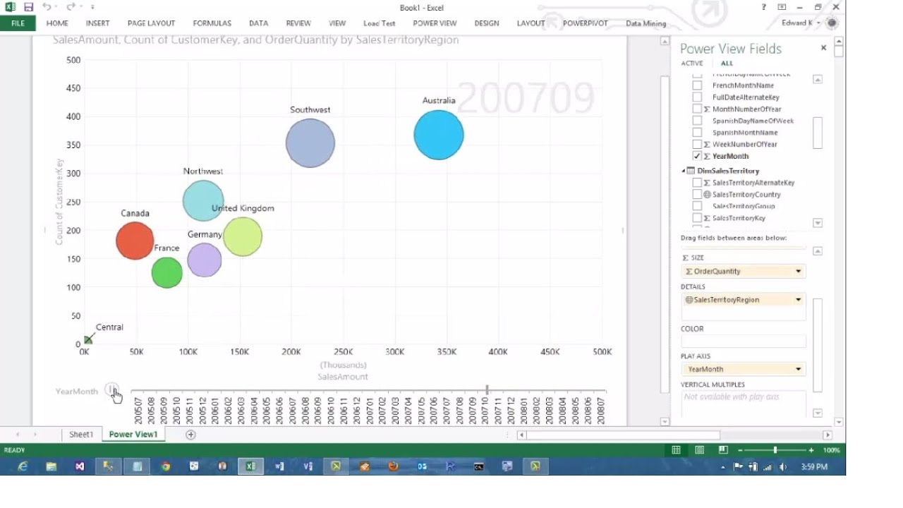 Excel powerview animated scatterplot bubble chart business intelligence tutorial youtube also rh