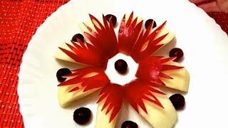 Как красиво нарезать яблоки - Украшения из фруктов & Карвинг яблок - Украшения тарелки
